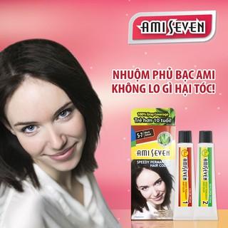 Nhuộm phủ bạc dược thảo Amiseven nhanh 7 phút AMI SEVEN Speedy Permanent Hair Color S7 (60g + 60g)