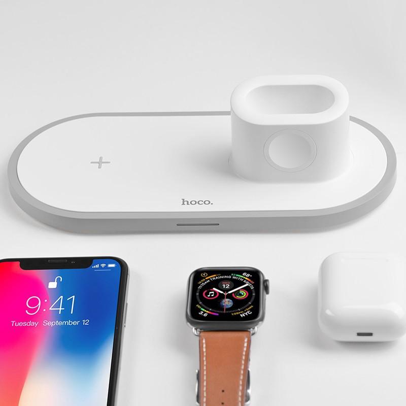 Bộ đế sạc không dây CHÍNH HÃNG HOCO CW21 3 trong 1 cho điện thoại iPhone, đồng hồ thông minh iWatch, tai nghe AirPods