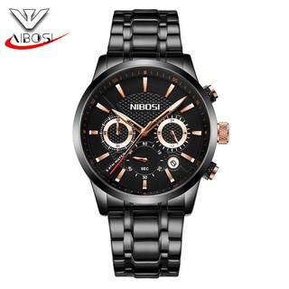 Đồng hồ nam dây thép đặc full 6 kim Nibosi (fullbox, black) thumbnail