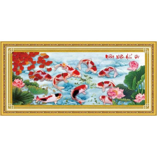 Tranh thêu cá chép hoa sen diên niên hữu dư 222811