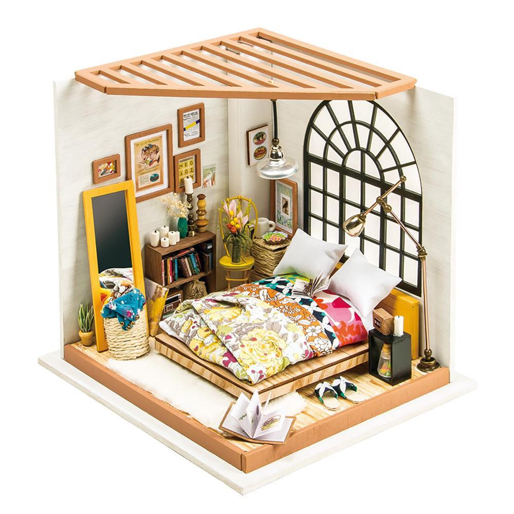 HW Robotime DIY House Hand-Assembled Creative Dollhouse Alice Dreamy Bedroom