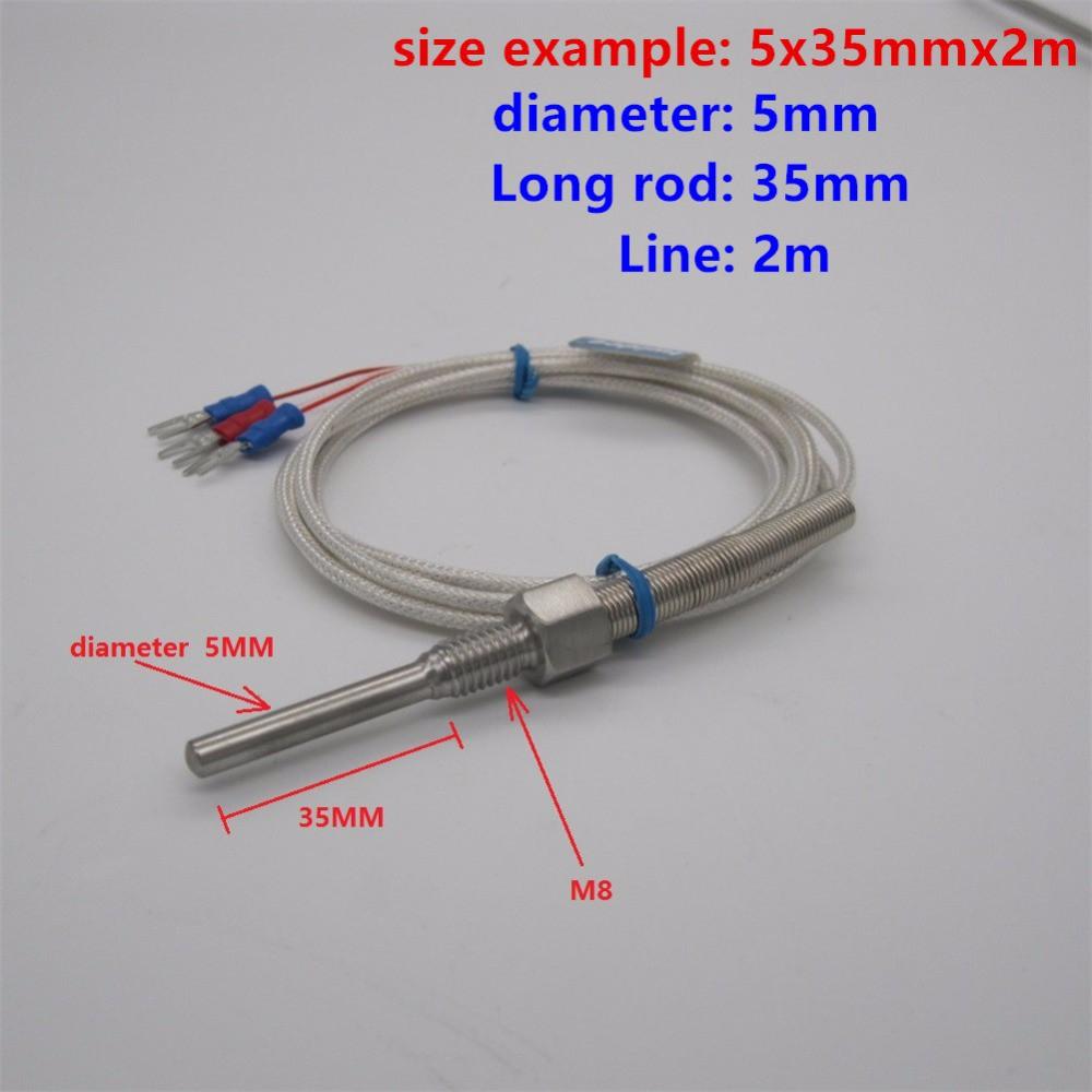 Can nhiệt Pt100 - Can pt100 phi 5 dài 5cm dây dài 3mét, dải nhiệt đo -200~420 oC