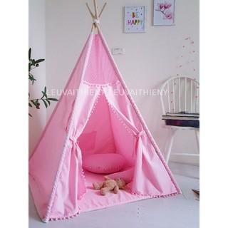 Lều vải cho bé gái màu Hồng công chúa. Lều vải cotton 100%, cọc gỗ tự nhiên Thiên Ý an toàn thoáng mát