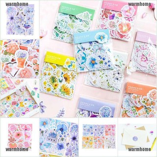 warmhome 45pcs Flowers Stickers Kawaii Stationery DIY Scrapbooking Journal Cute Stickers thro