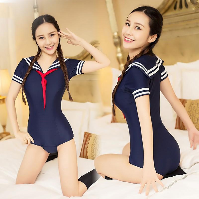 ♑LOV♑ High Cut Bodysuit Lingerie Student Uniform Club Wear Cosplay Outfits Costumes [OL]