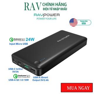 Pin sạc dự phòng RAVPower RP-PB043 20100mAh QC 3.0 18W & USB-C 5V/3A (In/Out)-Thương hiệu USA- HÀNG CHÍNH HÃNG