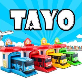 Bộp 4 nhà đẩy và 4 xe ô tô buýt Tayo The Little Bus chạy cót đồ chơi trẻ em