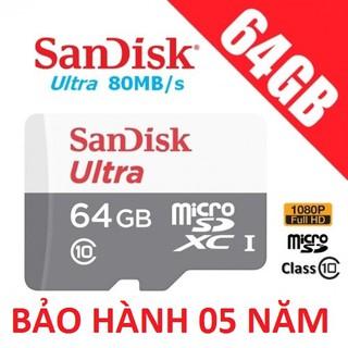 [Mã ELCACOIN08 hoàn đến 100k xu]Thẻ nhớ MicroSD Sandisk Ultra 80mb/s 533x Class10 64GB - New 2018