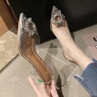 Giày cao gót thủy tinh hoa đá hàng nhập full hộp 7 phân