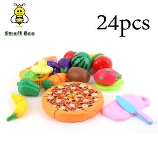 [Ready Stock]24 Pcs/Set Early Development Children Pretend Play Cut Fruit Pizza Food Toys