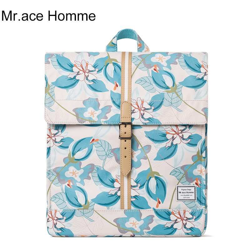 Balo Thời Trang Nắp Đậy Mr.ace Homme MR17C0910B01 / Hoa xanh nền nude