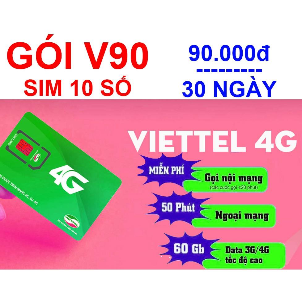 [SIM 10 SỐ ĐẦU 09 ] SIM V90 VIETTEL 62GB, GỌI MIỄN PHÍ, 50 PHÚT NGOẠI MẠNG | Shopee Việt Nam