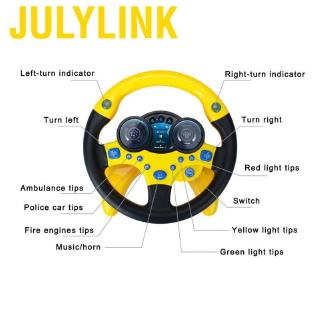 Julylink Children Passenger Steering Wheel Car Toy with Music and Light Pretend Drive Educational Toys Musical Gift for