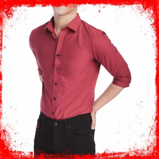 [Thời trang nam nữ – ảnh thật]Sơ mi nam màu đỏ đô cao cấp, vải cotton 65% mát mẻ