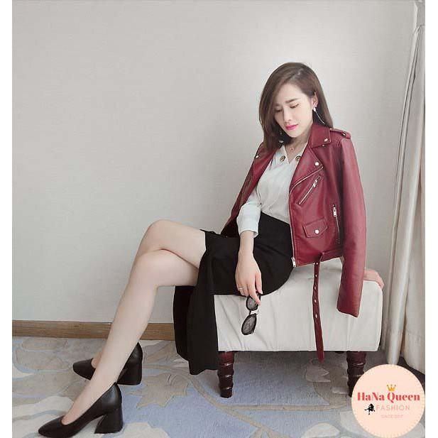 [Sẵn Hàng] Áo Khoác Da Nữ cao cấp cổ bẻ phong cách năng động, trẻ trung mẫu mới nhất 2020 (Cam kết hàng loại 1)