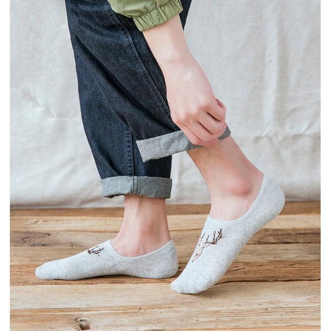 Tất Vớ Lười Thêu Họa Tiết Cổ Ngắn Thuyền Cotton Nam Đi Sneaker Giày Da