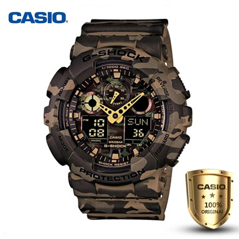 นาฬิกา Casio นาฬิกาข้อมือผู้ชายแฟชั่น GA-100CM-5A G-SHOCK กีฬาอิเล็กทรอนิกส์