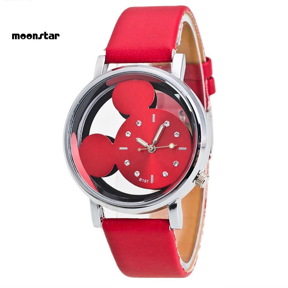 Đồng hồ dây giả da hình chuột Mickey dễ thương cho bé