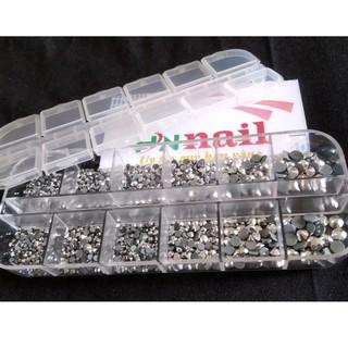 [khay] Đá chân keo đá nail mix size siêu sáng cao cấp hồng kong1400 viên giá sỉ phụ kiện nail đồ nail giá rẻ hoài út