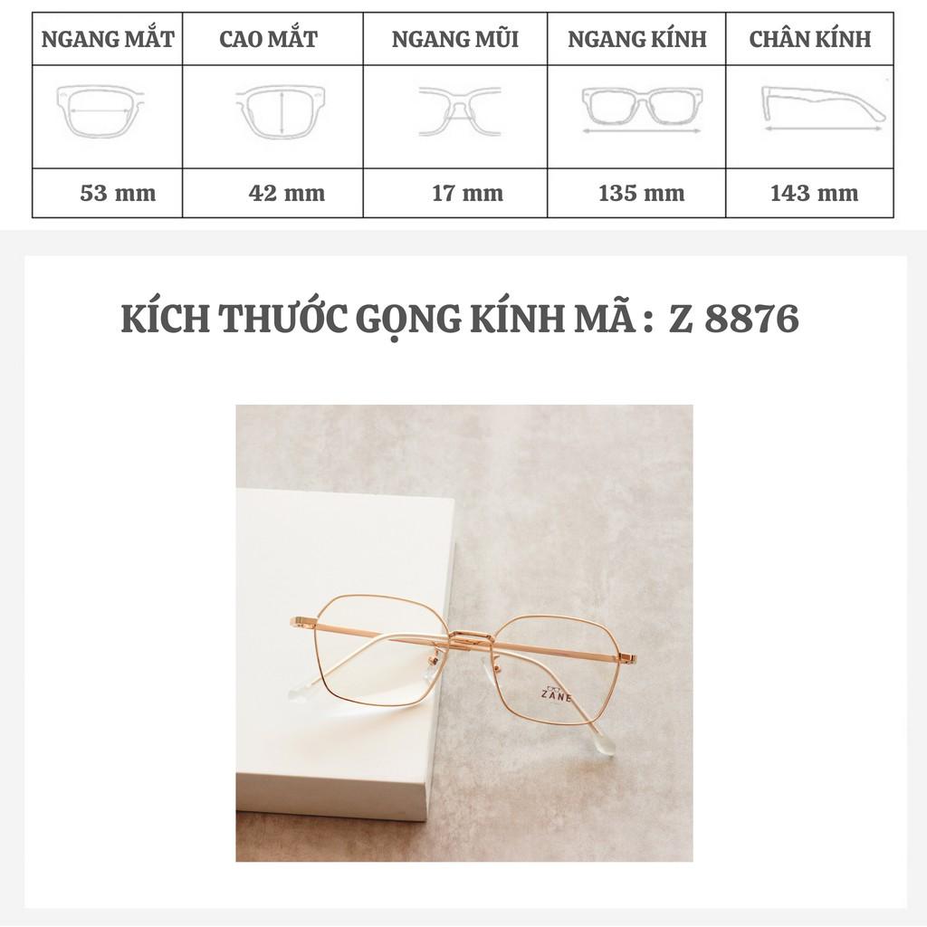 [LẮP SẴN CẬN] – Gọng kính cận kim loại, mắt kính vuông, chống ánh sáng xanh Z2223-29162