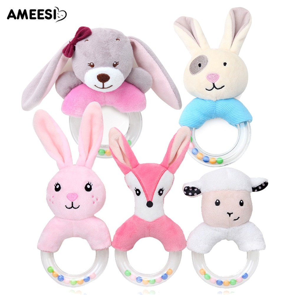 🔅🔆AMEESI  Fox Sheep Plush Handbell Infant Baby Sound Rattle Toy Gift