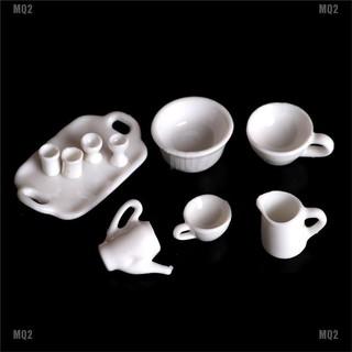 [MQ2]10pcs Dollhouse Miniature Dining Ware Tea Set Dish Cup Plate thumbnail