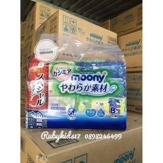 [MẪU MỚI] Khăn ướt Moony mẫu mới bịch 8 gói 640 tờ nội địa Nhật thumbnail