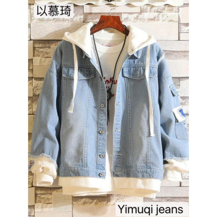 Áo Bò Nam Rách Phong Cách Quảng Châu Cao Cấp - Áo khoác jeans - Khoác jean cá tính