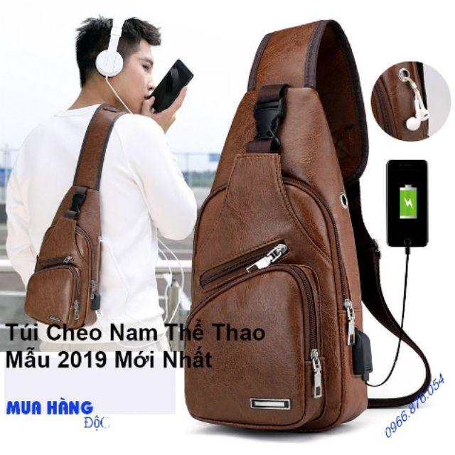 [Túi Nam Hot] Túi chéo vai nam mẫu 2019 da PU sử dụng cho sạc USB và tai nghe tiện dụng màu nâu