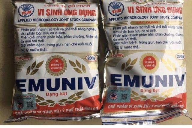 EMUNIV 200 gr ☘️ - (dạng bột) Chế phẩm vi sinh ủ phân hữu cơ