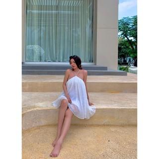 NARCOTICS- Miran Dress- Đầm yếm chéo cổ voan dập li. thumbnail