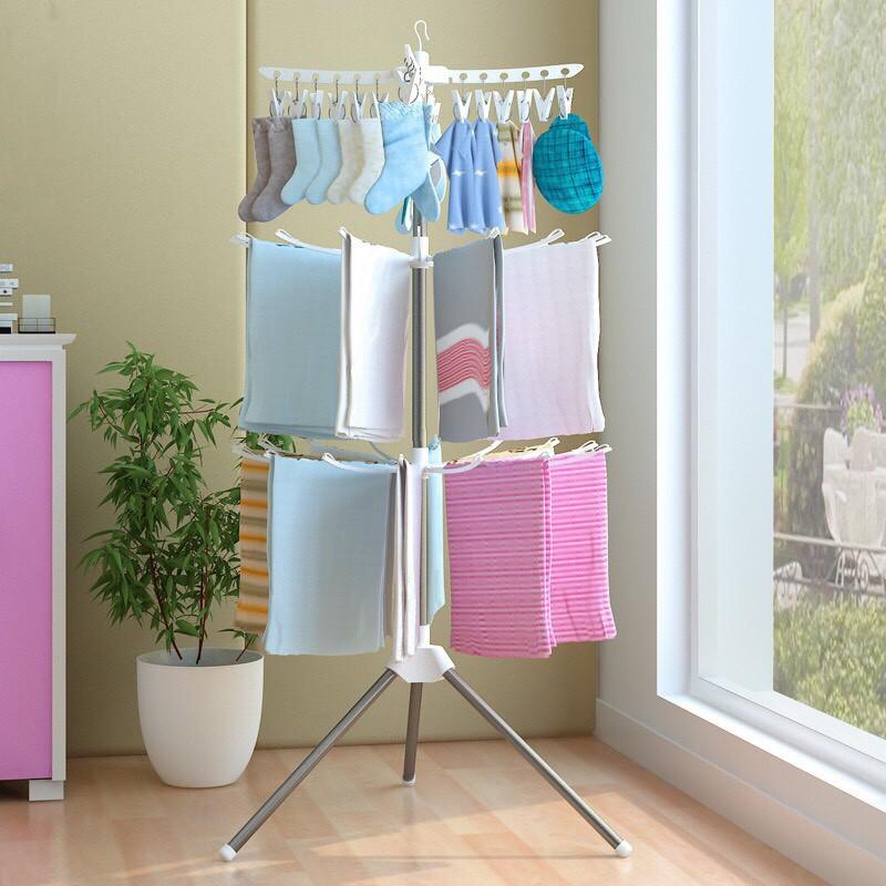 Cây phơi quần áo đa năng cho bé 3 tầng cao cấp,giá phơi đồ 3 tầng,giàn phơi quần áo sơ sinh gấp gọn tiện ích