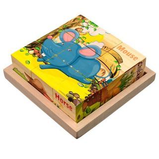 Bộ xếp hình 6 mặt 3×3 bằng gỗ chủ đề giao thông