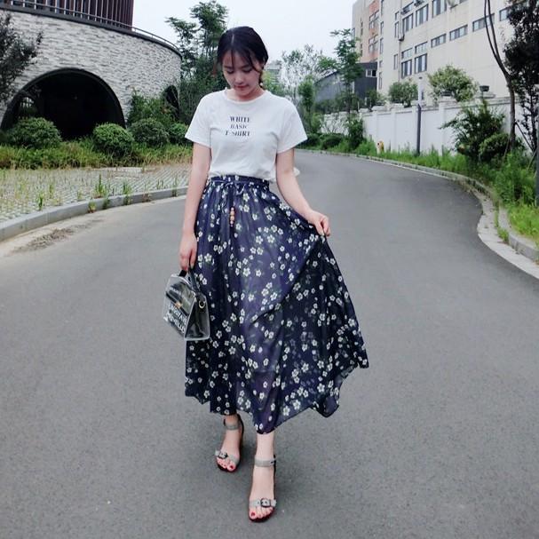 Chân Váy Dài Dáng Xoè In Hoa (sẵn)