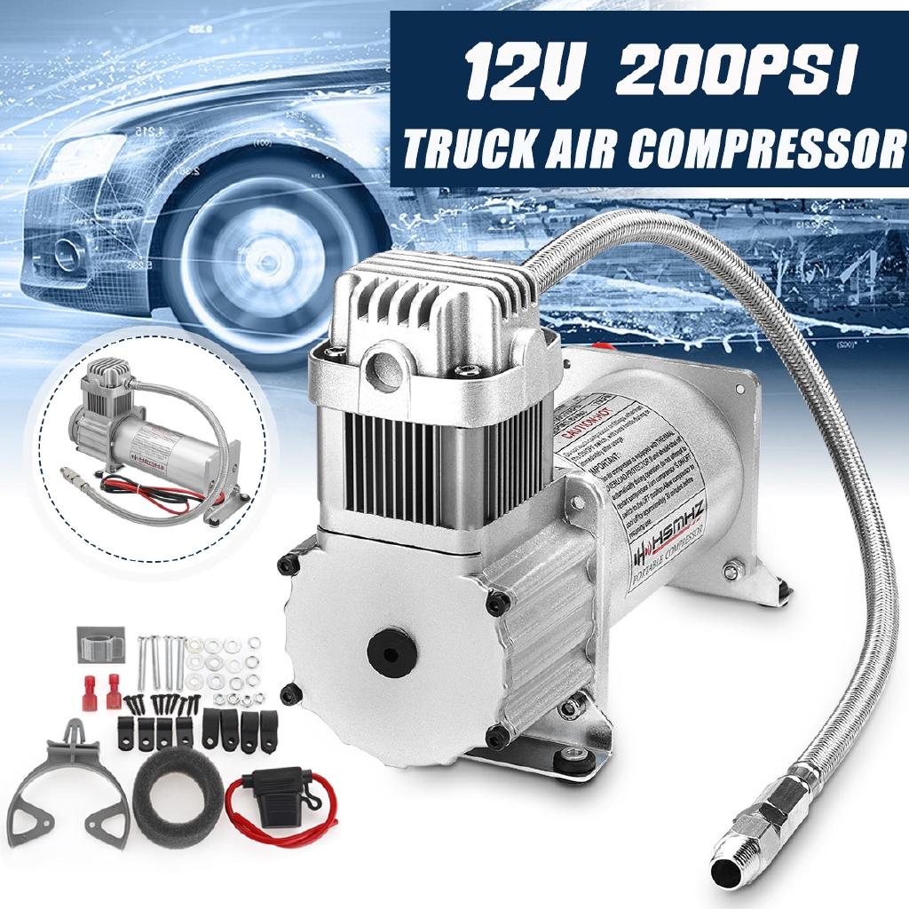12V 200Psi Air Compressor 1/4'' Hose Kit For Car Truck Train Horns Suspension