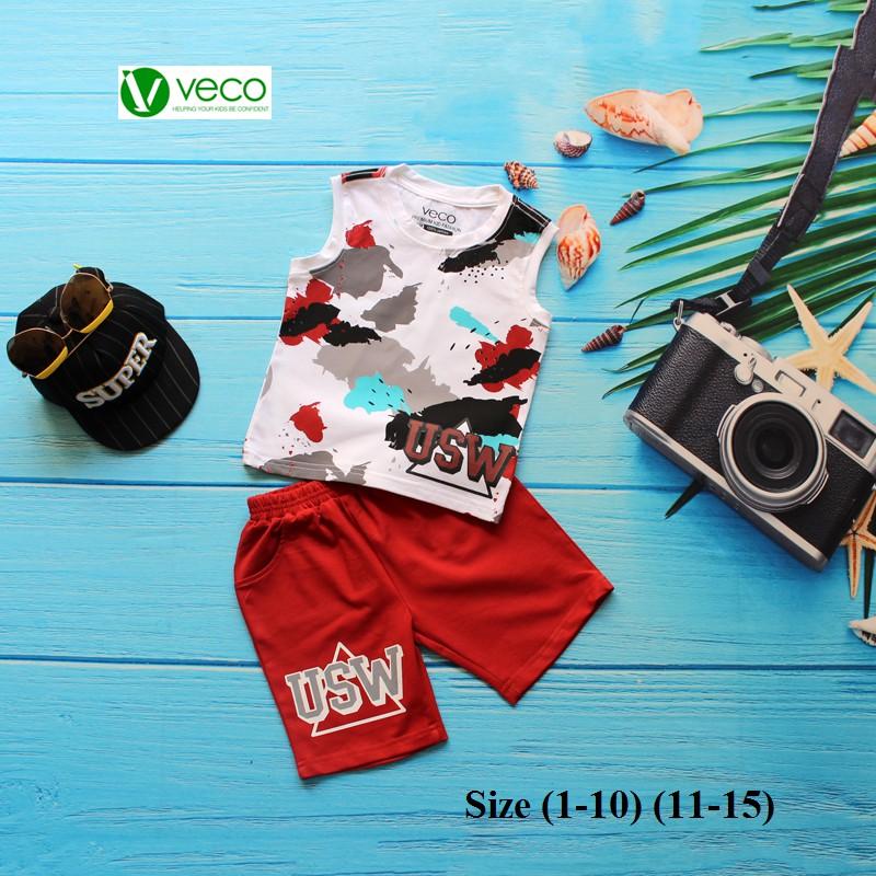 Quần áo bé trái cao cấp - Bộ thun bé trai Veco USW