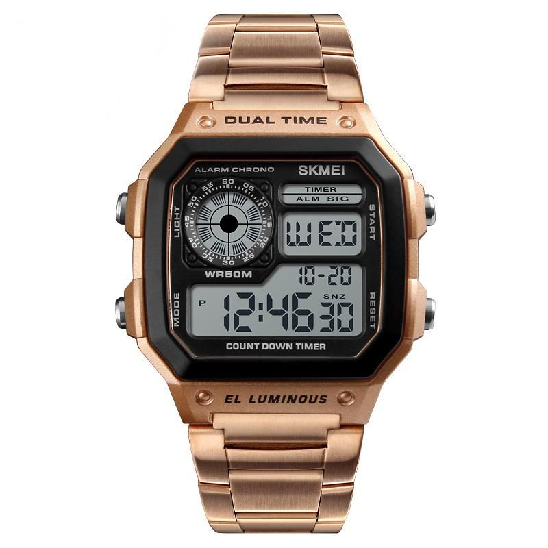 Đồng hồ thể thao nam Skmei 1335 điện tử cao cấp dây thép  mặt vuông
