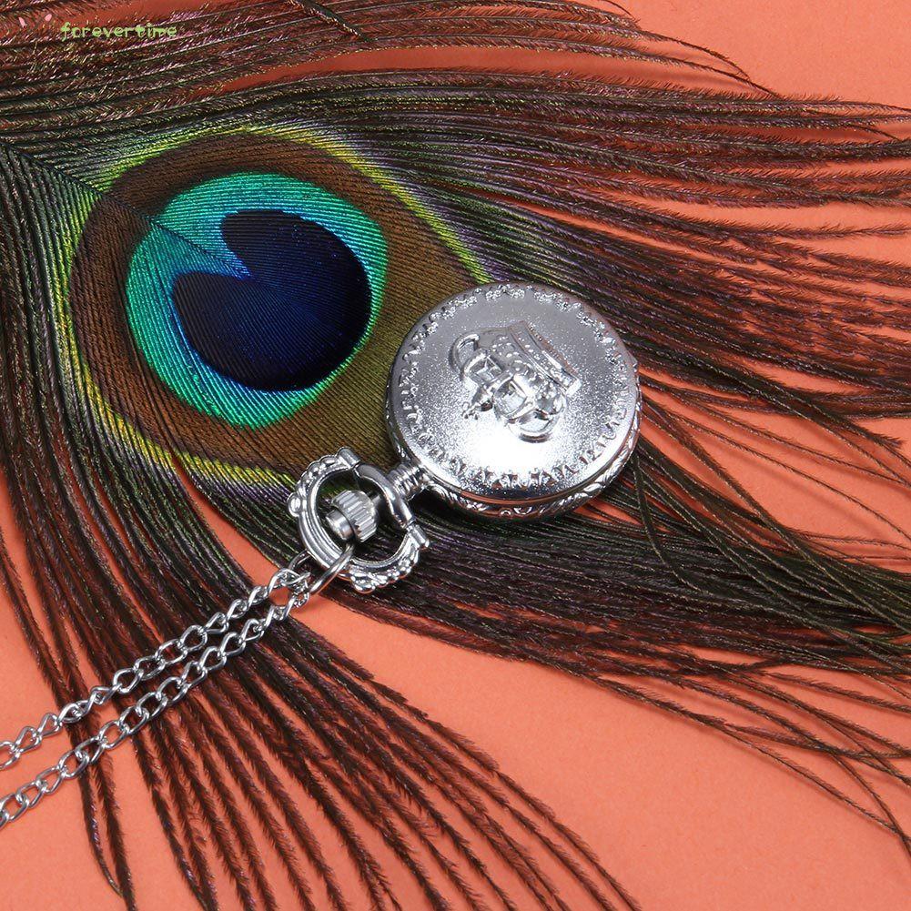 #vương miện# 1pc Men Women Pocket Watch Crown Carved Pattern Case with Chain