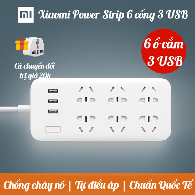 [CHÍNH HÃNG] Ổ cắm Xiaomi Mi Power Strip 6 cổng 3 USB - Ổ CẮM ĐIỆN XIAOMI MI POWER STRIP 6 CỔNG 3 US