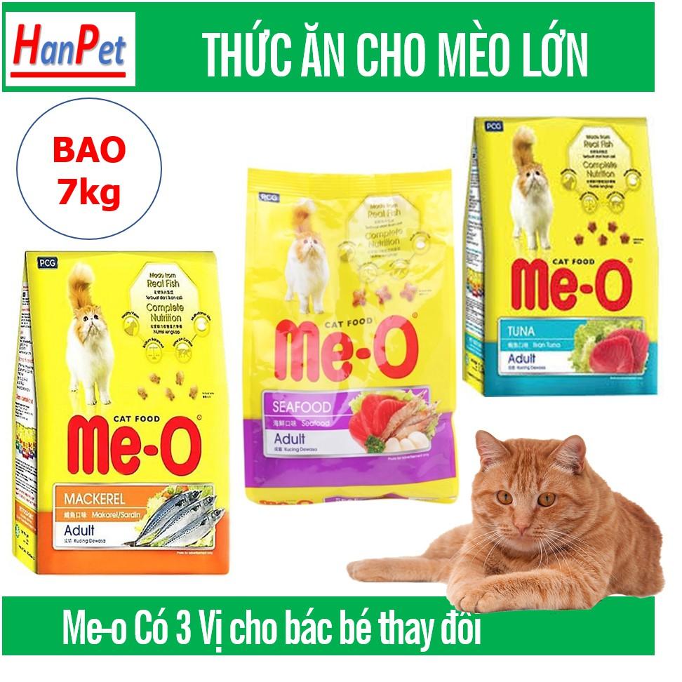 Bao 7kg Me-o (20 gói) Thức ăn viên cho mèo lớn gồm 3 vị Cá ngừ Cá Thu và Hải sản đồ ăn dành cho mèo trên 1 năm tuổi|7kg Hải sản