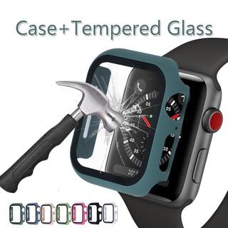 Ốp PC cứng có mặt kính cường lực bảo vệ màn hình cho Apple Watch 5/4/3/2/1 38 / 40/42 / 44mm