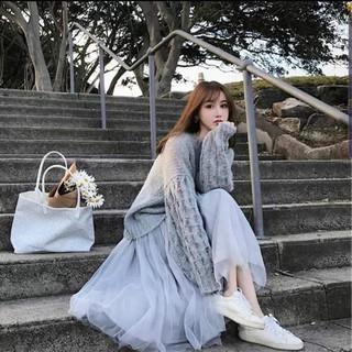[ORDER] – Set áo len + váy voan xoè tiểu thư Vintage ( Có ảnh thật ) New Order