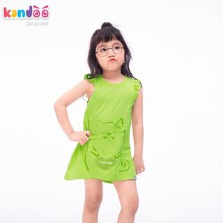 Áo T-shirt bé gái KANDOO màu xanh lime thoải mái hoạt động, 100% cotton cao cấp mềm mịn, thoáng mát-DG16TS03
