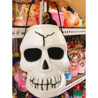 Giỏ kẹo có đèn đầu lâu mở nắp được đồ chơi Halloween