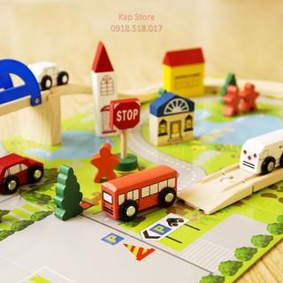 Mô hình giao thông gỗ 40 chi tiết có bản đồ