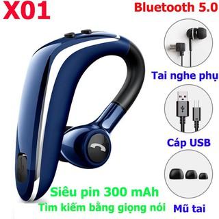 Tai nghe móc tai bluetooth 5.0 X01 - Tìm kiếm bằng giọng nói, pin trâu 300mAhtai nghe nhét thumbnail