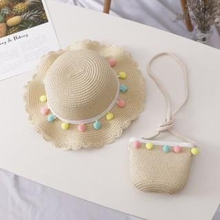 Set mũ và túi cói cho bé