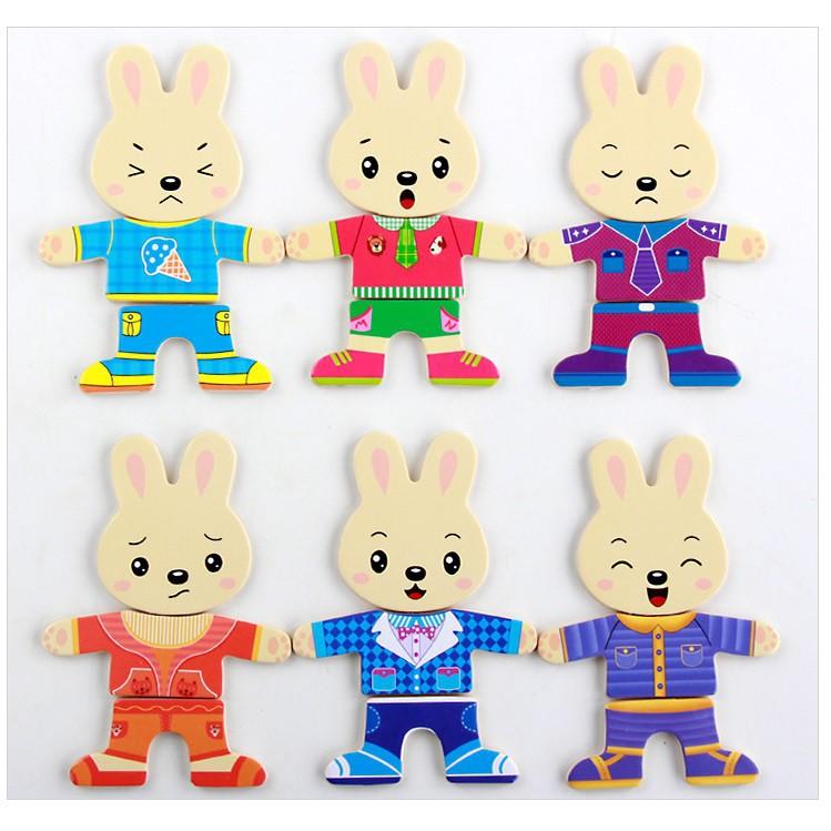 [ĐỒ CHƠI GỖ] Ghép hình gia đình thỏ