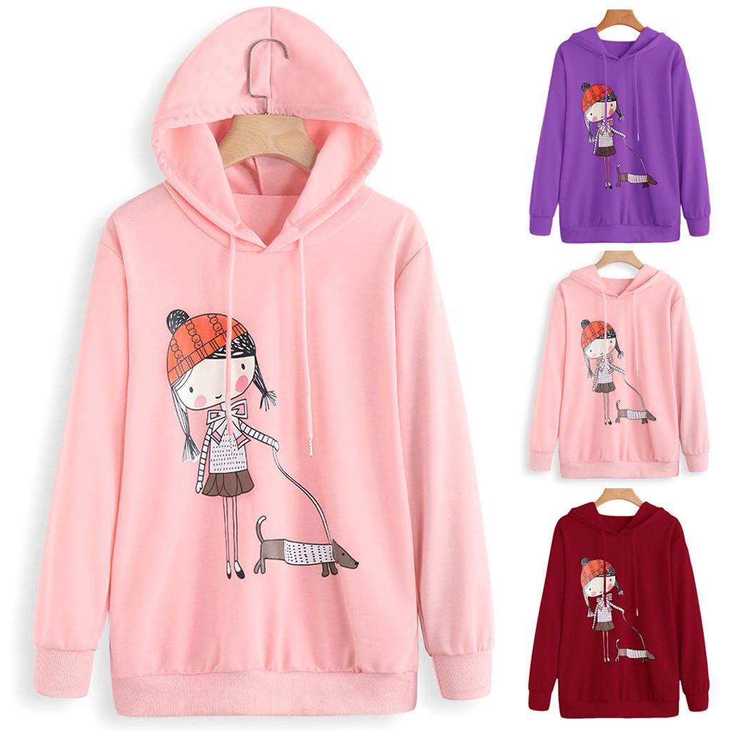 Womens Fashion Print Long Sleeve Hoodie Sweatshirt Hooded Pullover Tops Blouse