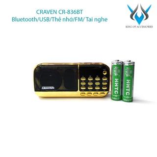 Loa đài FM đa năng Craven CR-836BT hỗ trợ Bluetooth Thẻ nhớ USB Tai nghe Đèn pin - dung lượng pin 4400mah (Đen đỏ) thumbnail